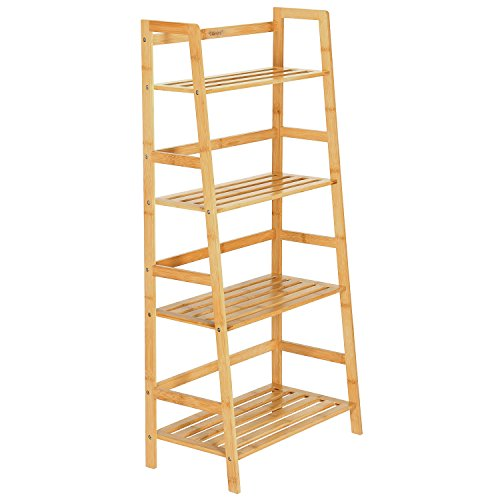 Ollieroo Natural Bamboo 4 Tier Bookcase, Multi-Functional Book Shelf Storage Rack, Plants Stand Display Shelf ()