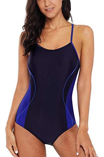 (CharmLeaks Woman Long Torso 1 PC Swimsuit Thin Strap Competition Swimwear Navy)
