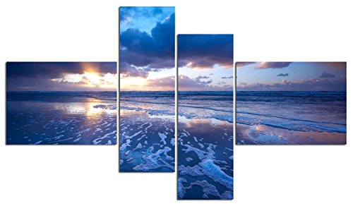 Water Art Print Painting Canvas Artwork Landscape Wave Ocean Beach Wall Art Framed Decoration Home Office Living Room Picture Decor 4 Panels (48