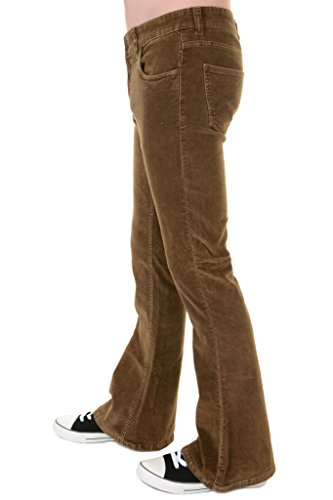 (Run & Fly Mens 70s Retro Vintage Khaki Stretch Corduroy Bell Bottom Flares 32)