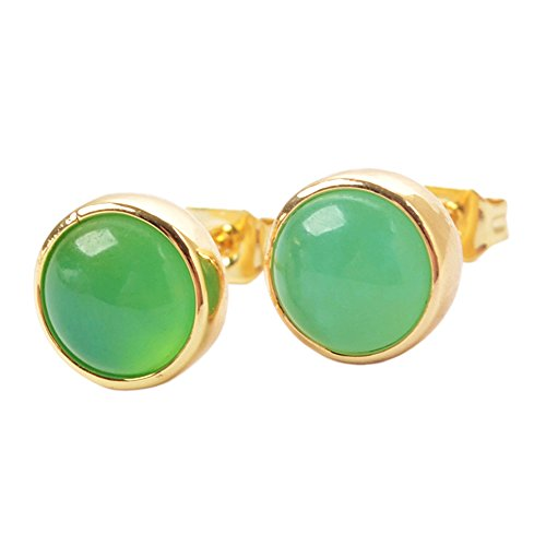 Ring Earring Jade (ZENGORI 1 Pair 9MM Gold Plated Round Australian Jade Stud Earrings for Women ZG0259-1)