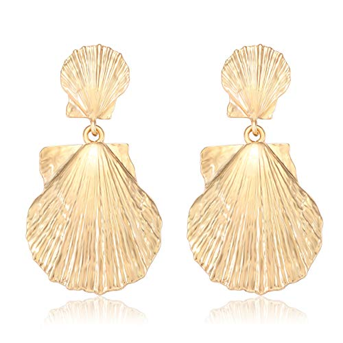 Urwomin Shell Earring for Women Gold-Tone Shell Drop Dangle Earring Hammered Metal Scallop Disc Stud Statement Earring (Gold)
