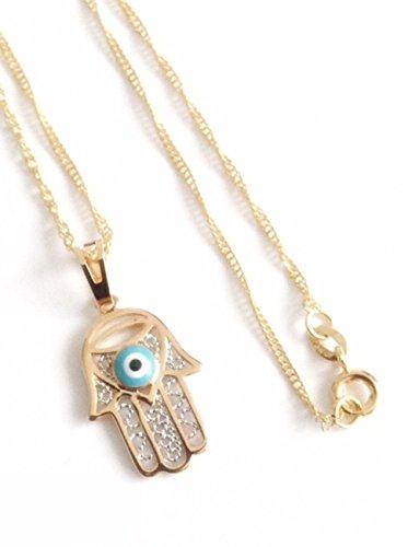Hamsa Hand evil eye necklace 19.5