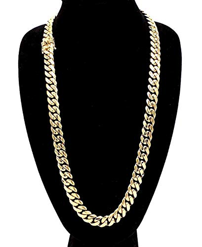 Hollywood Jewelry Men's Miami Cuban Link Chain 24k Yellow Gold Plated Stainless Steel Real Thick Solid Clasp 6-14MM 28inch (14MM)