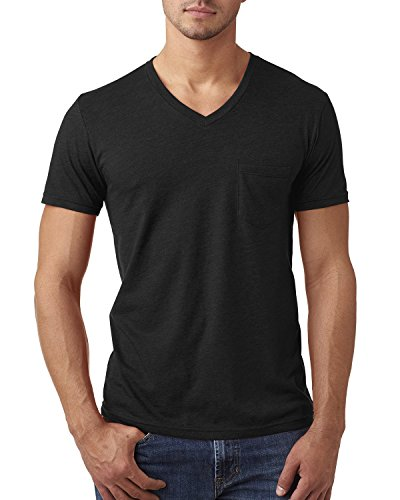 YogaColors Men's Unisex Short Sleeve Jersey V-Neck Pocket Tee T-Shirt XS to (Jersey Pocket Tee)