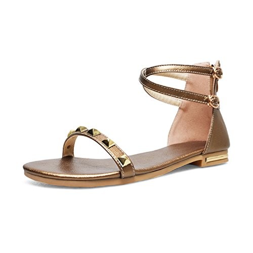 Genuine Leather Footwear Flat Sole Sandals Shoes 2018 Rivet Fashion Casual Girl Shoes,Gold,7.5 (Leather Golf Shoe Euro)