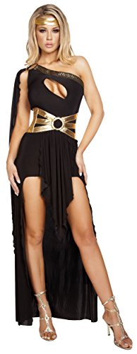 Roma Costume Women's 3 Piece Gorgeous Goddess, Black/Gold, Small/Medium