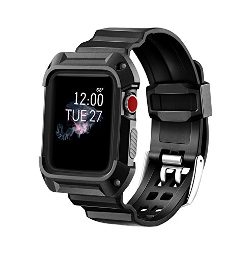 Compatible Apple Watch Band with Case 42mm, MAIRUI Rugged Protective G Shock Replacement Wristband for Apple Watch Series 3/2/1, iWatch Nike+/Sport/Edition (Black)