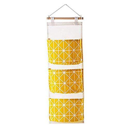 Cascat Hanging Storage Bag Wall Mounted 3 Pockets Over Door Hanging Closet Organizer, Linen Cotton Fabric Waterproof Storage Bag for Bedroom & Bathroom