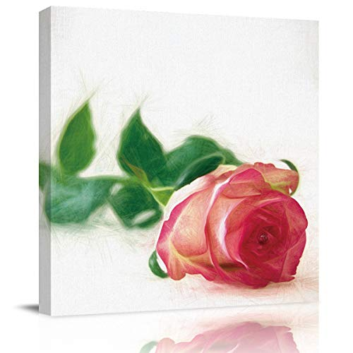 SUN-Shine Canvas Wall Art Oil Painting Prints Stretched and Framed, Delicate Red Rose Wall Artworks Picture for Living Room Kitchen Bedroom Decoration, 16X16Inch -