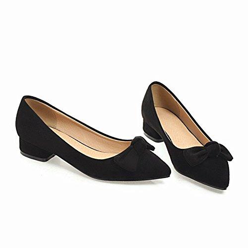 Charm Foot Womens Comfort Low Heel Bows Pointed Toe Pumps Shoes Black nPmOejm