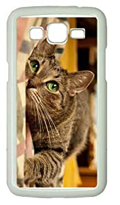 covers prettycute cat green eyes PC White case/cover for Samsung Galaxy Grand 2/7106