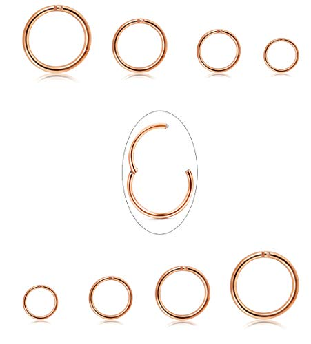 - Jstyle 8Pcs 16G Surgical Steel Hinged Clicker Segment Nose Rings Hoop Helix Cartilage Daith Tragus Sleeper Earrings Body Piercing 6-12MM Improved (B: Rose-Gold)