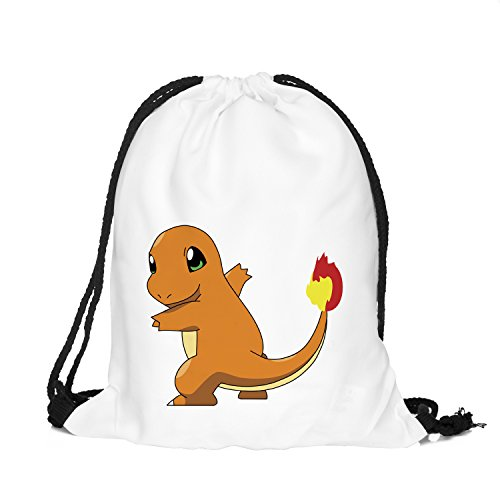 (OLSS-Original Shoulder Bag Pumping Rope Backpack Pokemon Go! Pattern Printed Bundle Mouth Single Pocket Shoulder Bag (Orange))
