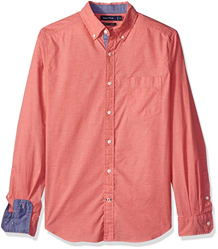 Nautica Men's Stretch Long Sleeve Faded Button Down Shirt, Spicedcorl Medium