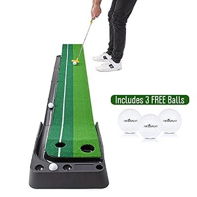 Indoor Golf Putting Practise Mat – Auto Ball Return Function – Life-like Portable Golf Court with Real-Like Grass – Extra-long Golf Mat – 3 Bonus Balls