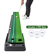 Indoor Golf Putting Green – Portable Mat with Auto Ball Return Function – Mini Golf Practice Training Aid, Game and Gift for Home, Office, Outdoor Use – 3 Bonus Balls