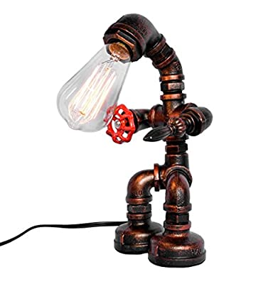 OYl Industrial Vintage Red Valve Handle Switch Rust Iron Water Pipe Desk Table Lamp Light