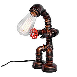 OYI Industrial Retro Style Rust Iron Robot Plumbing Pipe Desk Table Lamp Light with Red Valve Handle and Switch