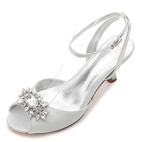 Mid Clásicos Silver Tarde yc Mujeres Con Baja Abierta De L La El Partido D17061 Zapatos Boda Rhinestone Las Formales 59 Cat PaURw1qR