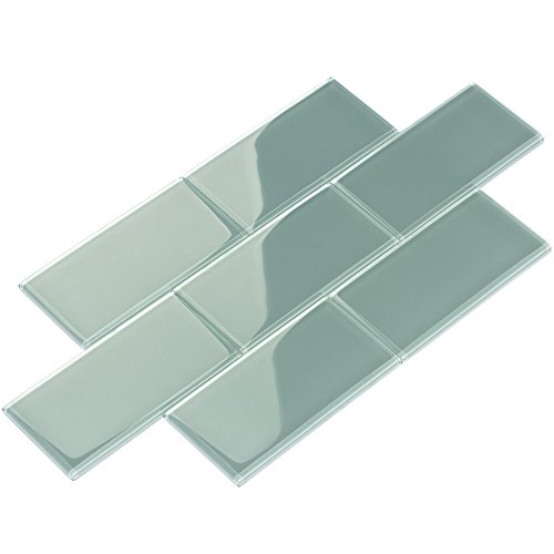 Giorbello Glass Subway Backsplash Tile, 3 x 6, Slate, 2 Sq Ft ()