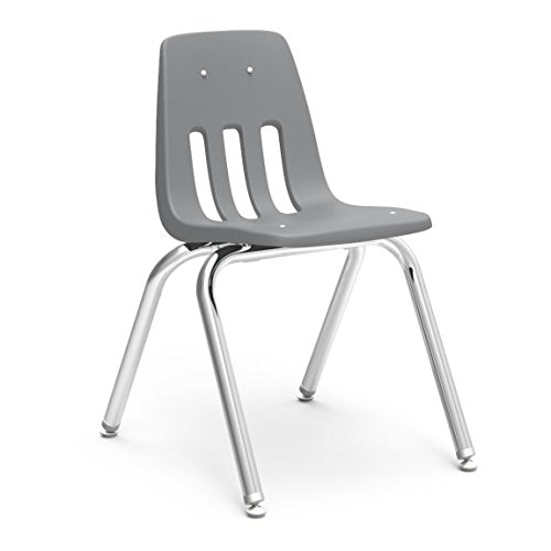 Virco Stacking Chair - Virco Student Chair, Gray, Soft Plastic Shell, 16