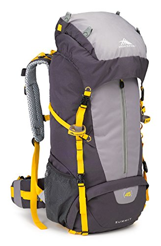 High Sierra Summit 45L Top LoadBackpack Pack, High-Performance Pack for Backpacking, Hiking, Camping, with Rain Fly, Mercury/Ash/Yell-O