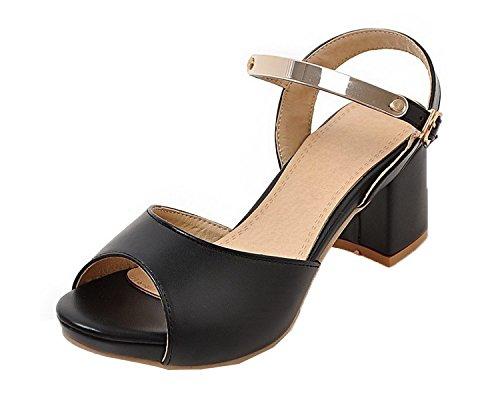GMBLB014132 à d'orteil Boucle Unie Correct Sandales Talon AgooLar Couleur Femme Noir Ouverture nvw4x