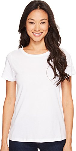 Lilla P Women's Pima Jersey Short Sleeve Jewel Neck Top White Shirt