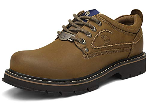 - CAMEL CROWN Men's Work Shoes Casual Leather Low-Cut Work Boots Comfortable Slip Resistant Construction Shoes for Travel Walking Business Khaki
