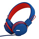 Yomuse F85 On Ear Foldable Headphones with Microphone for Kids Teens Adults, Smartphones iPhone iPod iPad Laptop Tablets Mp3/4 Blue Red