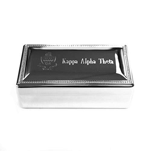 Desert Cactus Kappa Alpha Theta Engraved Pin Box Sorority Greek Decorative Trinket Case Great for Rings, Badges, Jewelry Etc. Theta (Rectangle Pin Box)