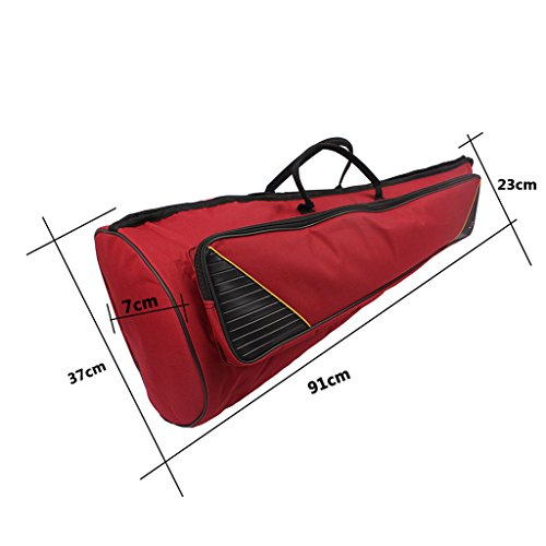 Dovewill Durable Tenor Trombone Gig Bag Shoulder Carry Case Musical Instrument Accessory Claret Color 35.82inch