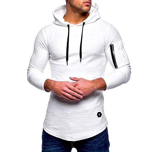 haoricu Men's Slim Fit Casual Tops Long Sleeved Zipper T-Shirt Solid Hooded Blouse by haoricu