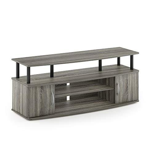 Furinno JAYA Large Entertainment Stand for TV Up to 50 Inch, French Oak Grey/Black (Stand Tv Grey Wood)