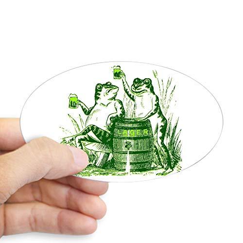 CafePress Drunk Frogs St Patricks Day Oval Sticker Oval Bumper Sticker, Euro Oval Car Decal