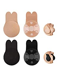 LKDEPO Lift Nipplecovers, Silicone Women Breast Rabbit Nipple Cover Reusable Self Adhesive Invisible Bra Nipple