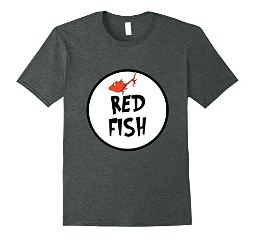 Cute Simple Group Costumes (Mens Cute Rhyming Red Fish T-shirt | Group Matching Costume XL Dark Heather)
