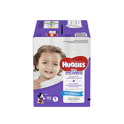 HUGGIES LITTLE MOVERS Diapers, Size 4 (22-37 lb.), 112 Ct., GIANT PACK (Packaging May Vary), Baby Diapers for Active Babies (Huggies Little Movers Diaper Pants Size 4)