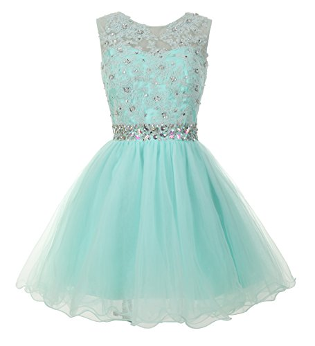 Junior Large Mint - Mamilove Women's Tulle Short Applique Beading Formal Homecoming Cocktail Party Dress 14 Mint Green