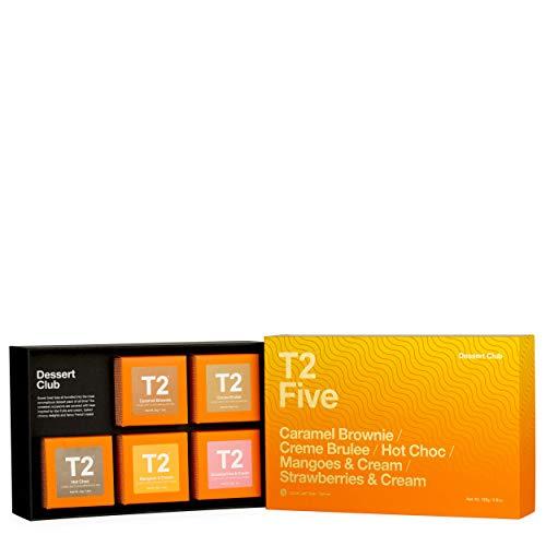 - T2 Tea Dessert Club Assorted Tea Sampler Gift Box, 5 Loose Leaf Black Tea Packs (165g/5.8 oz)