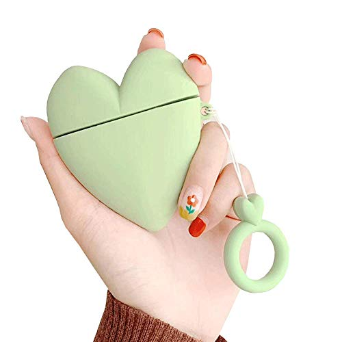 ICI-Rencontrer Cute Simple Three-dimensional Loving heart-shaped Airpods Case Girls Women Candy Color Heart AirPods Accessories Wireless Charging Earphone Soft Silicone Protector Decoration Green