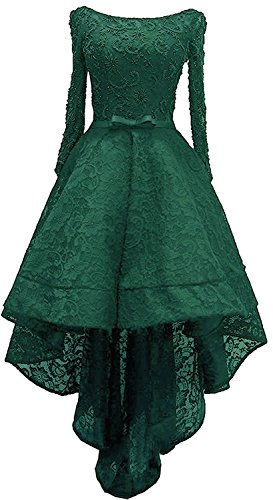 Emerald Cocktail Dresses (Zechun Women's Lace Hi-Low Beaded Prom Evening Gown Cocktail Dress Emerald Green US14)