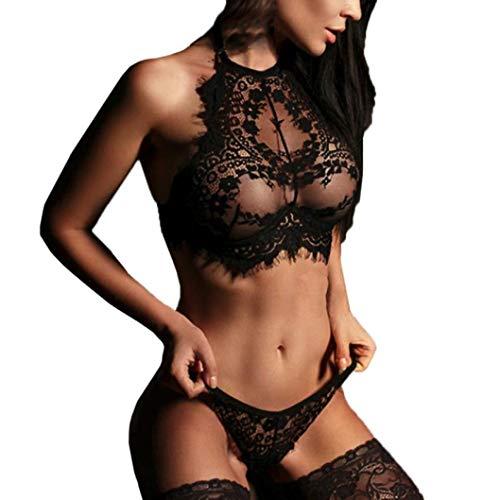 iTLOTL Women Sexy Lingerie Lace Flowers Push Up Top Bra Pants delight Underwear Set(Black,US-8/CN-L) -