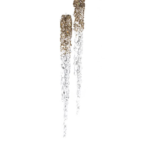 Factory Direct Craft Group of 6 Tall Gold Glittered Dipped Icicle Ornaments for Tree Trim, Package Embellishing and Holiday Crafting