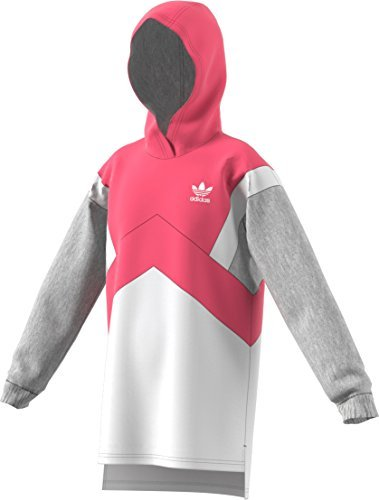 Adidas Terry Pullover (adidas Originals Kids Girl's Modern French Terry Hoodie (Little Kids/Big Kids) Real Pink/White/Medium Grey Heather X-Large)