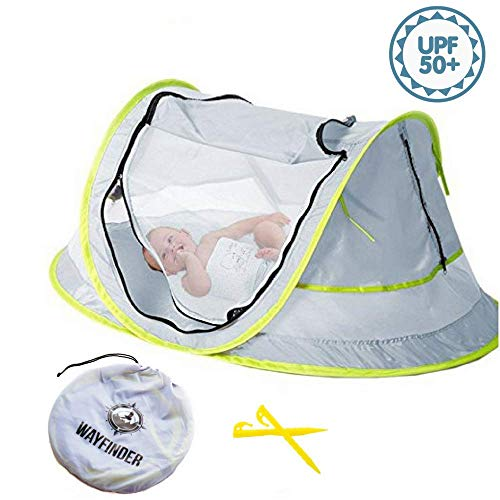 (Wayfinder TravelTot, Baby Travel Tent Portable Baby Travel Bed Indoor & Outdoor Travel Crib Baby Beach Tent UPF 50+ UV Protection w/Mosquito Net and 2 Pegs)