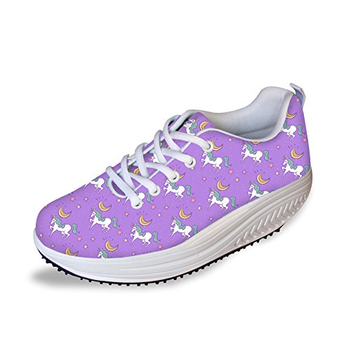 FOR U DESIGNS Cute Animal Cat Print Swing Fitness Walking Sneaker Casual Womens Wedges Platform Shoes Horse Purple PX6Fa