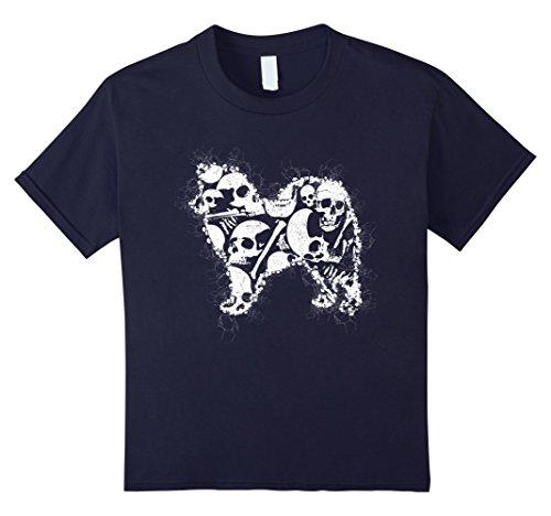 [Kids Skeleton Skull Costume T-shirt For AMERICAN ESKIMO Lovers 12 Navy] (Child Eskimo Boy Costumes)