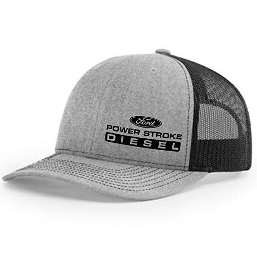Diesel Tees Power Stroke Trucker Snapback Hat 112 (Heather Grey/Black)